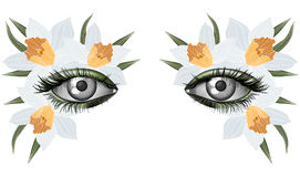 Look of the spring, photorealistic eye artistic makeup Royalty Free Stock Images