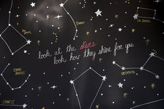 Look at stars constellation how they shine for you. Large black stand with painted stars in the constellation drawn up with their names and the inscription with Stock Photos