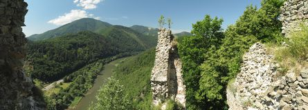 Look from Stary hrad ruin castle Stock Photos