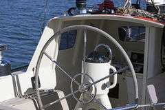 Look at the Steering wheel of a sailboat Royalty Free Stock Image