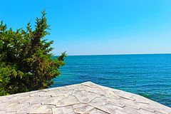 A look from summer 2018 in the Nessebar Sea in the town of Nessebar, Black Sea in Bulgaria Augu royalty free stock photo