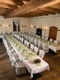 Tables are for festivities. Look at the tables prepared for the celebration in a restaurant Stock Photo
