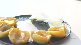 Look of taste dish with baked apples and cheese stock footage