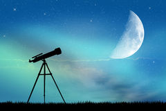 Look in the telescope Stock Photo