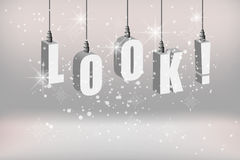 Look text attention banner with white hanging Royalty Free Stock Photography