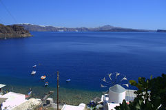 A look from Thirassia island to Santorini Stock Photography