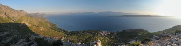 Look to Adriatic sea  from Sv. Petar - ruins of little chapel - above Zivogosce in Croatia Stock Photo