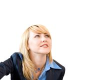 Look to future. Pretty blond businesswoman look to the right corner of photo and smiling Royalty Free Stock Photos