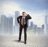 Look to the future. Concept of businessman look to the future Royalty Free Stock Photography