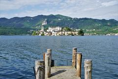 Look to the Island of Saint Giulio, Lake Orta, Italy royalty free stock photography
