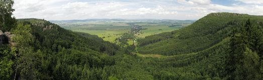 Look to Martinkovice from Broumovske steny mountains in Czech republic Stock Photo