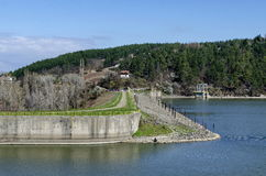 Look toward barrage wall of picturesque dam stock photo