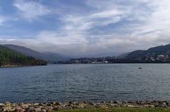 Look toward environment of picturesque dam, gather water of Iskar river. Pancharevo, Bulgaria royalty free stock image