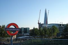 London, UK - July 22, 2012: Look from Tower Hill underground station to Shard of Glass royalty free stock photography