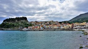 Look at the town of Parga, the Bay and the fortress. stock photography