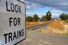 Look for Trains railway sign Royalty Free Stock Photo