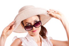 Look from under sunglasses Stock Photography