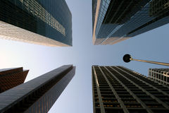 Look up. Low angle architecture image in a major metropolis Royalty Free Stock Images