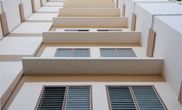 Look up at apartment housing in Thailand. Step of building. Stock Photo
