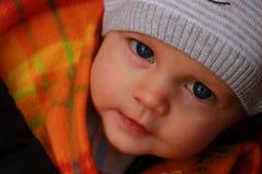 Look up newborn baby. Attentive scrutiny up newborn baby Stock Photo