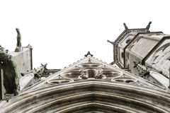 Look up part of the entrance and tower of the church, carcasonne, france Stock Photos