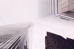 Look up at the skyscrapers of New York. High-rise construction Royalty Free Stock Photo