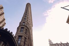 Look up at the skyscrapers of New York. High-rise construction Royalty Free Stock Images