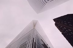 Look up at the skyscrapers of New York. High-rise construction stock photo