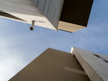 Look up a surveillance camera. With blue sky Royalty Free Stock Image