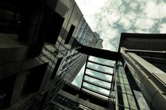 Look up at the tall buildings. skyscraper. Look up at the tall buildings. Landmark building in hangzhou, China. skyscraper. Glass building royalty free stock image