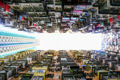 A look up view of Quarry Bay in Hong Kong,China. Stock Image