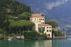 Look at villa Balbianello, Lenno, town panorama, location, bank promenade in Lake Como. In Italy stock image