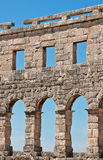 A look through the wall of the Arena in Pula. A look outside through the wall of the ruins of the ancient Roman amphitheatre colloseum in Pula, Croatia Royalty Free Stock Photography