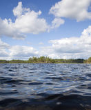 Look from the water. Island in the forest lake foreshortened from the water Royalty Free Stock Photo