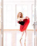 Look What I Can Do!. Ballerina profile, with red tutu, executing a balance pose Royalty Free Stock Images