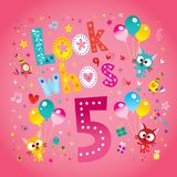 Look who`s five - fifth birthday card. With cute kittens stock illustration