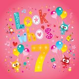 Look who`s seven - seventh birthday card. With cute kittens Stock Images