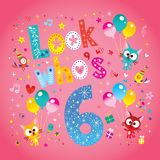 Look who`s six - sixth birthday card. With cute kittens royalty free illustration