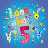 Look whos five - fifth birthday card. With cute bunnies Royalty Free Stock Photography