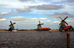 A look of windmills. Windmills in Zaanse Schans ethnographic museum in Netherlands stock photos
