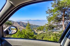 Look by the window of a car, Taurus mountains, Turkey. Journey through the centre of Turkey, look by the window of a car, Taurus mountains, Turkey royalty free stock photo