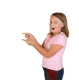 Look at this young girl. Look at this a young girl pointing to something exciting Stock Photos