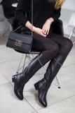 Lookbook kängor för läder för kvinna` s höga, Royaltyfri Bild