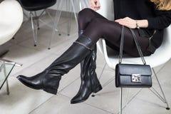 Lookbook kängor för läder för kvinna` s höga, Fotografering för Bildbyråer