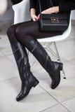 Lookbook kängor för läder för kvinna` s höga, Arkivbild