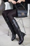 Lookbook kängor för läder för kvinna` s höga, Arkivfoto