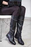 Lookbook kängor för läder för kvinna` s höga, royaltyfri fotografi