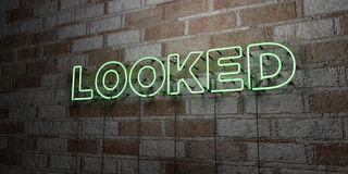 LOOKED - Glowing Neon Sign on stonework wall - 3D rendered royalty free stock illustration Stock Photos