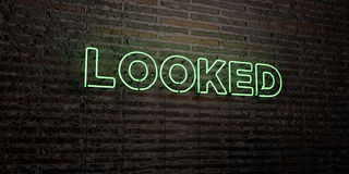 LOOKED -Realistic Neon Sign on Brick Wall background - 3D rendered royalty free stock image Royalty Free Stock Photography