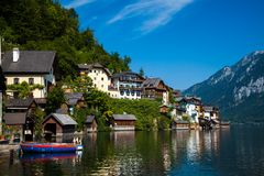 Lookin across the lake at the idyllic village of Hallstatt stock photo